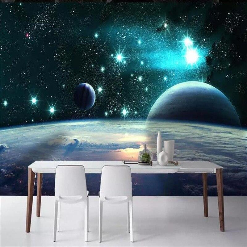 Custom wallpaper 3d magnificent universe earth planet stars background wall paper mural high-grade waterproof material недорого