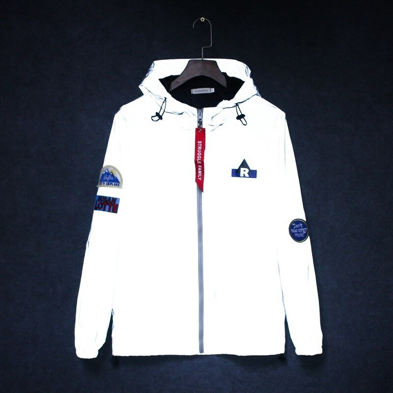 Mens windbreaker tide brand hooded jackets waterproof Men Hip Hop Patch Designs Pilot 3M reflective jacket casual sporting coat