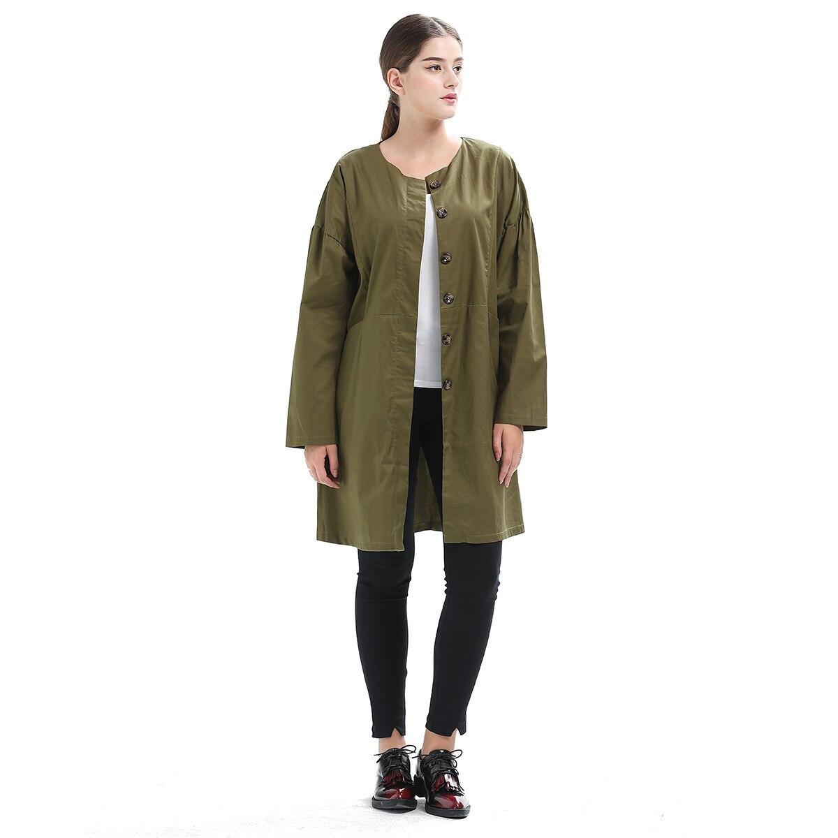 Denim Trench Coat Cotton Casual Lace Full Real Casaco Feminino 2018 Spring New Neck Buckle Windbreaker Loose Coat Woman Tide