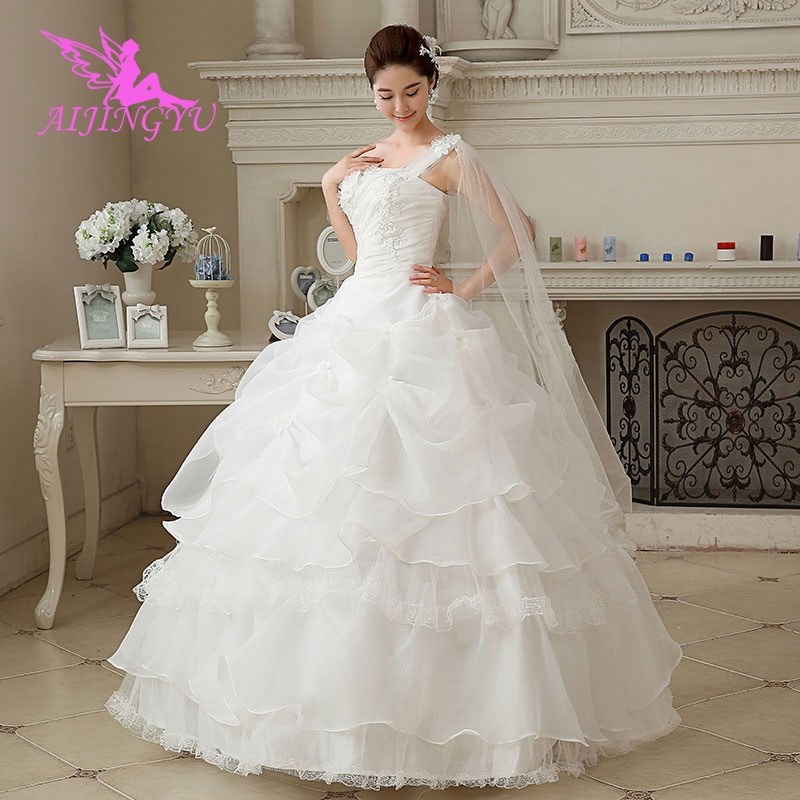 AIJINGYU-فستان زفاف مختلط ، مقاس كبير ، WU222