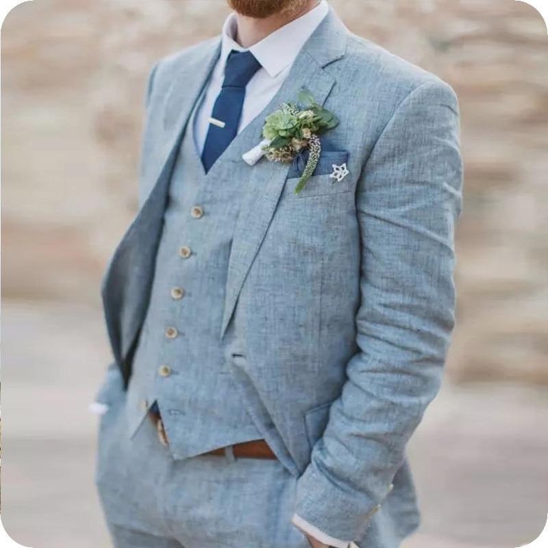 Light Blue Men Suits Wedding Suits Prom Bridegroom Groom Custom Made Tuxedos Slim Fit Formal Best Man Blazer 3piece Traje Hombre