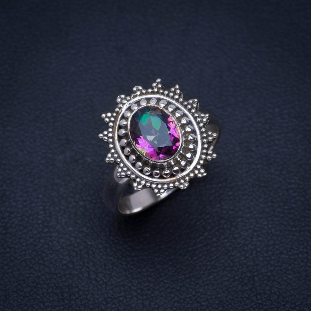 Místicas naturales Topacio hecho a mano único 925 anillo de plata esterlina 6,25 A4133