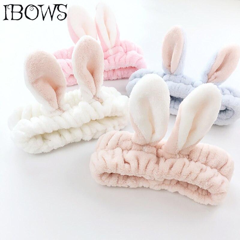 Coreano feminino bonito orelhas de coelho bandana lavagem confortável rosto banho titular do cabelo elástico cabeça banda para menina hairband acessório de cabelo