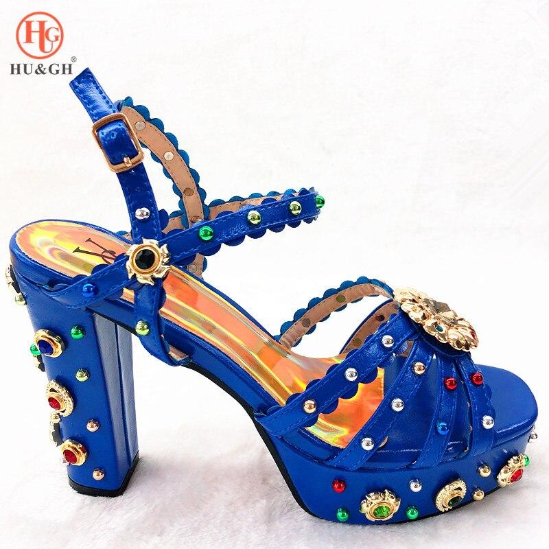 ¡Novedad! Zapatos de mujer de alta calidad en azul real de verano, sandalias de estilo africano, Tacones, Zapatos para fiesta, vestido de boda