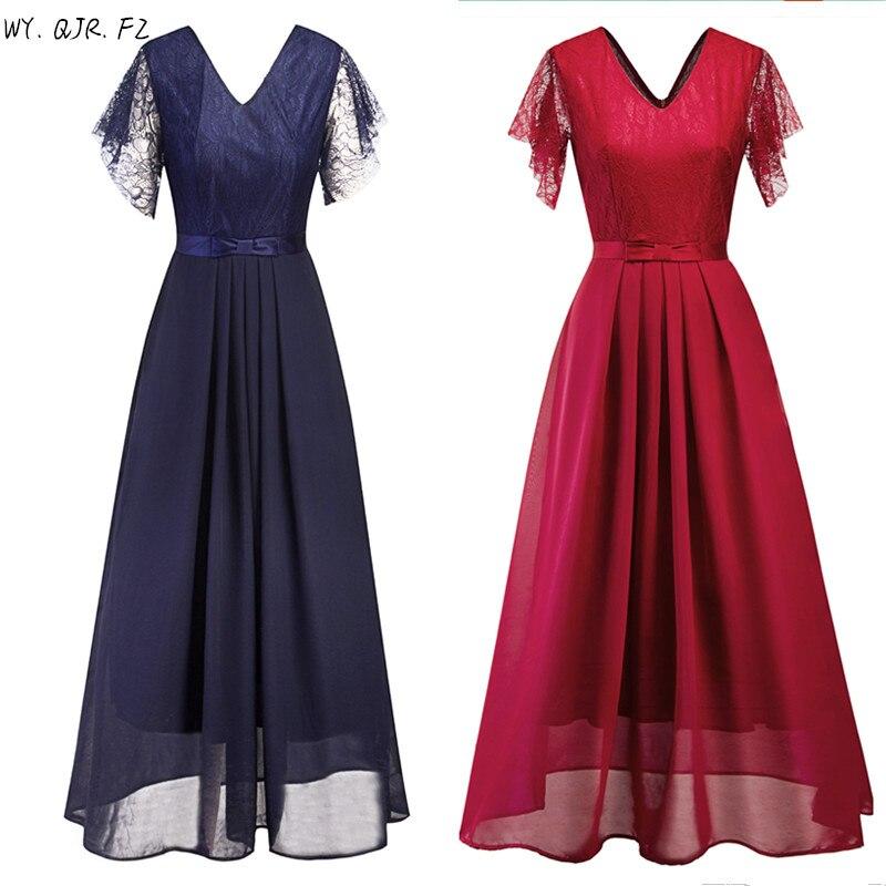 Szsy2206 # laço longo vestidos de dama de honra vinho vermelho preto azul escuro vestido de festa de casamento vestido de formatura barato por atacado roupas femininas