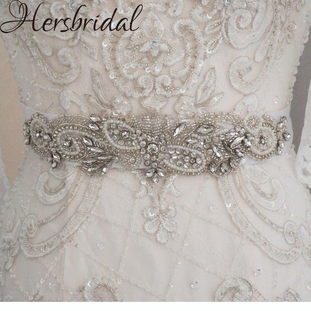 Cinturón de novia Vintage con diamantes de imitación y perlas hecho a mano con apliques para vestido de novia 2019