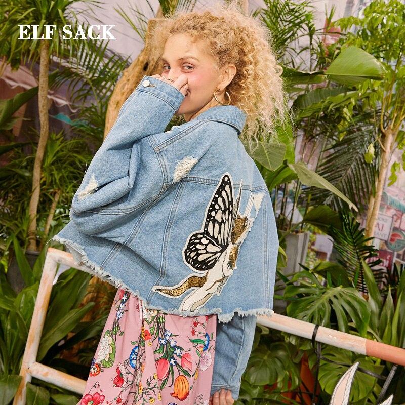 Elfsack 2019 mulher de grandes dimensões jaquetas casuais bordado impressão outerwear senhoras casacos algodão buraco completo feminino denim jaquetas