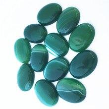 Hot 18mm x 25mm pierre naturelle ovale cabine CABOCHON vert Onyx Agates en gros perles de pierre pour la fabrication de bijoux livraison gratuite 12 pcs/lot