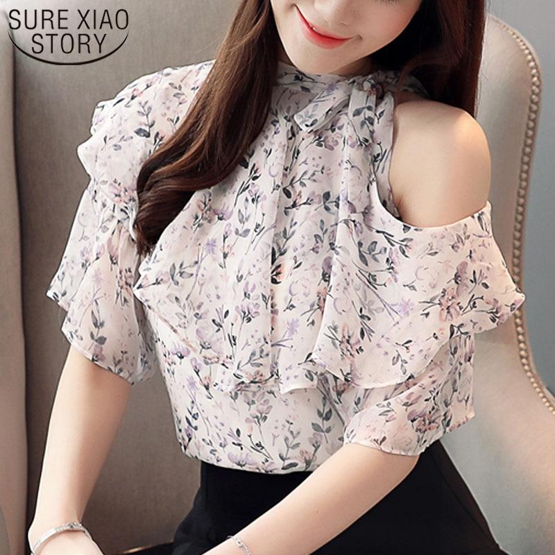 2019 señoras Tops Harajuku camisa Floral gasa blusa camisa moda mujeres blusa y Tops volantes camisa de manga corta 3999 50
