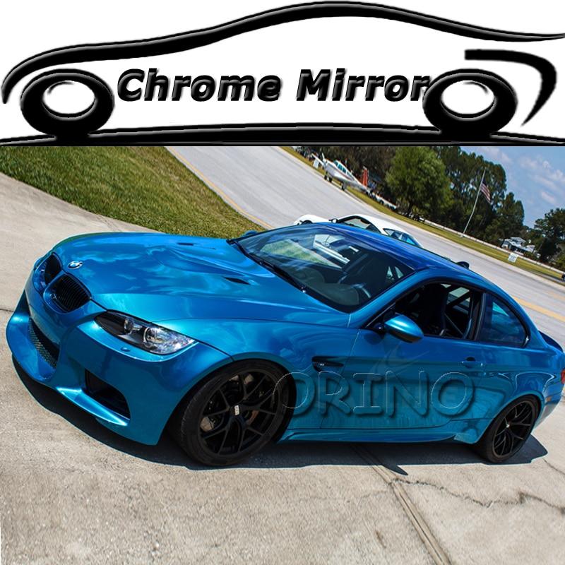 1.52*20 metros/rolo stretchable azul chrome vinil filme carro adesivo chrome vinil carro warp bolha de ar livre