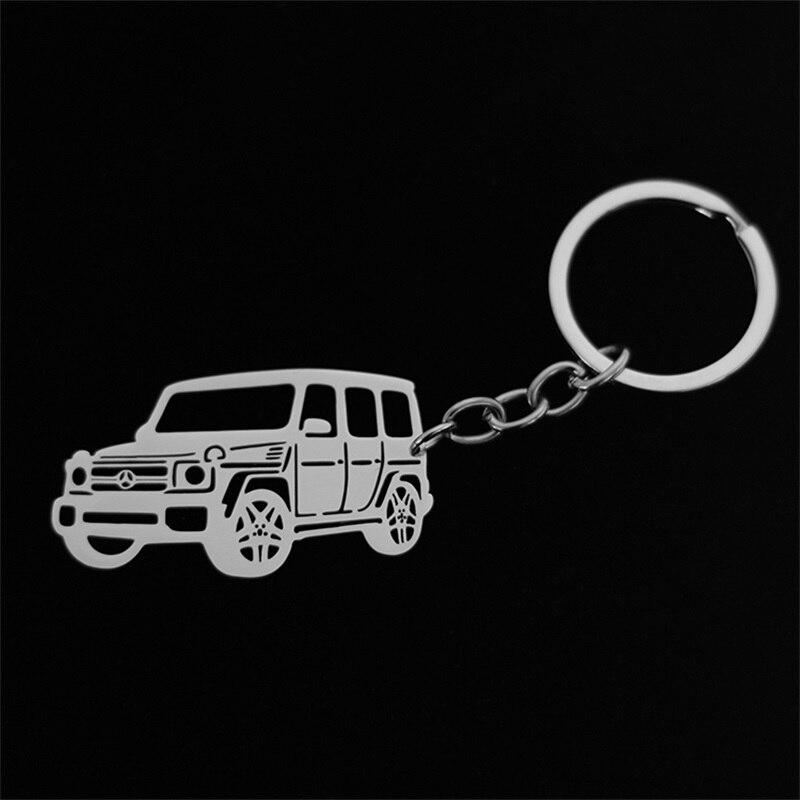 Aço inoxidável oco mercedes-benz jeep modelo de carro pingente chaveiro chaveiro jóias