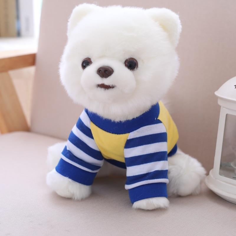 25cm lindo simulación Pomeranian juguetes de peluche suave realista perro Animal muñecas para niños niñas encantadores regalos de navidad