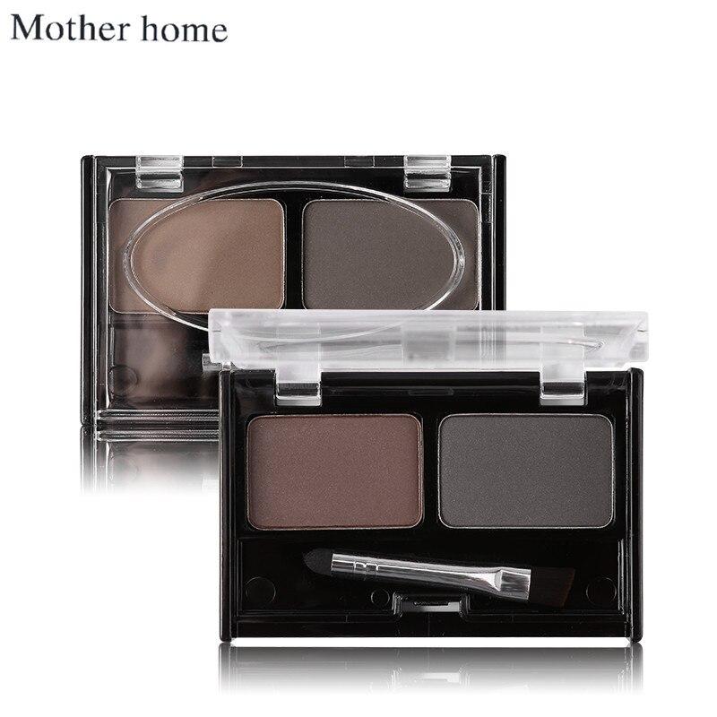 Mother Home Eye Brow Makeup 2 Color Eyebrow Powder Palette Waterproof Eyebrow Cake Eyeshadow with Brush