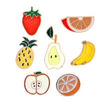 Pineapple Strawberry Orange Banana Apple Pear Brooch Mini Cute Cartoon Fruit Fashion Enamel Brooches Pins For Women Girl