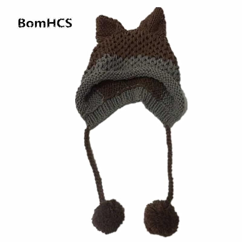 BomHCS Cute Fox Ears Beanie Winter Warm 100% Handmade Knit Hat