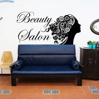 ZOOYOO Salon de beaute autocollant mural mode fille cheveux Style stickers muraux evider decor a la maison mur Art decoration