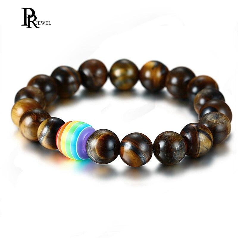Gay y lesbianas orgullo arcoíris Natural Ojo de Tigre piedra Lava Rock con cuentas pulseras de Arco Iris para hombres y mujeres