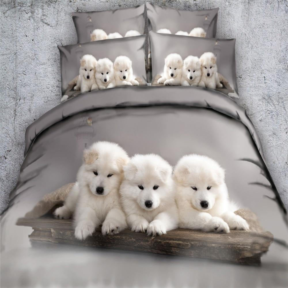 3D رمادي الأبيض كلب أجش الفراش مجموعات 3/4 قطعة المفارش الملك أحجام حاف لحاف يغطي التوأم الملكة 500tc المنسوجة الجمال السرير الكتان