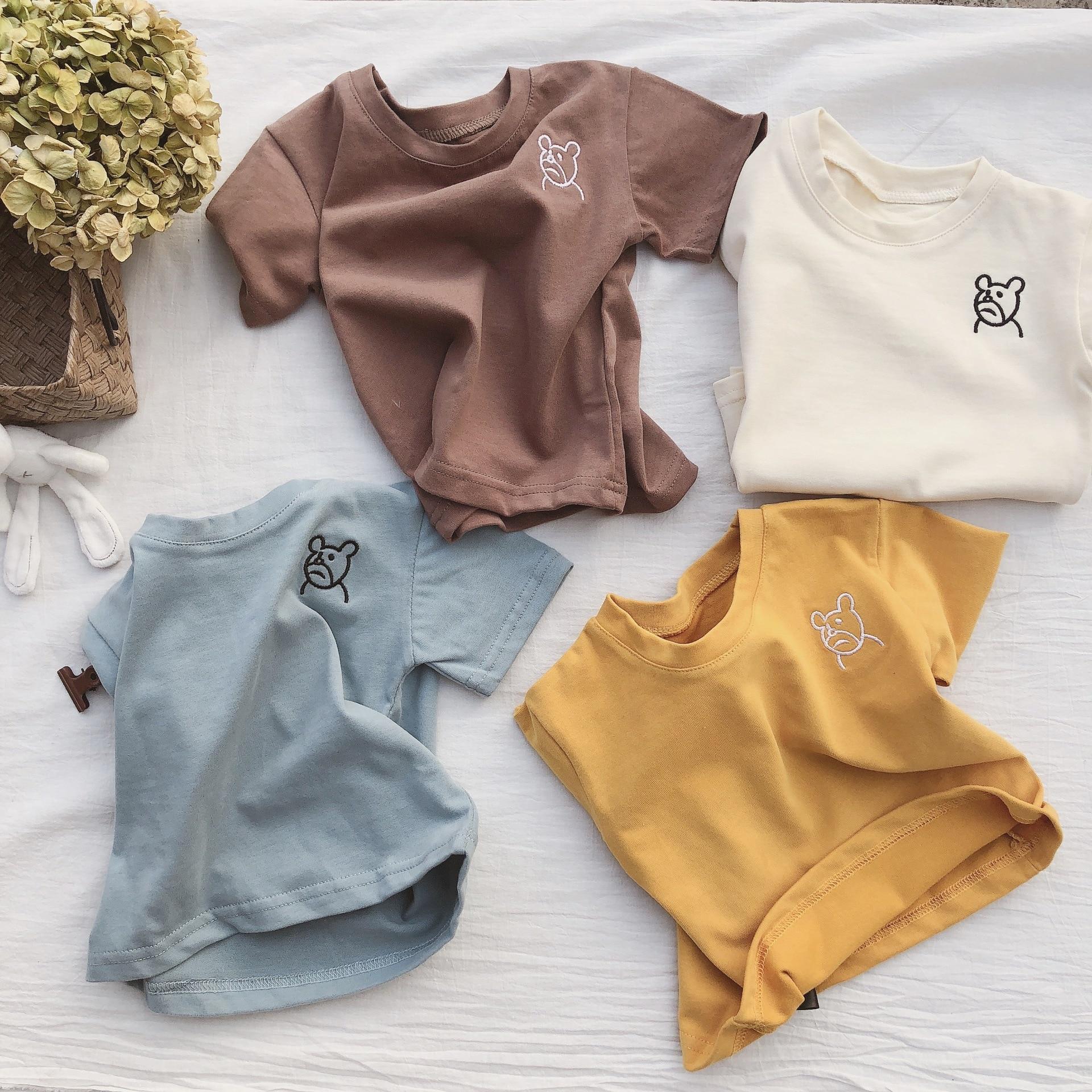 Camiseta de manga corta bordada de oso de dibujos animados de verano 2019 para niños de estilo coreano, camisetas casuales de algodón para niñas