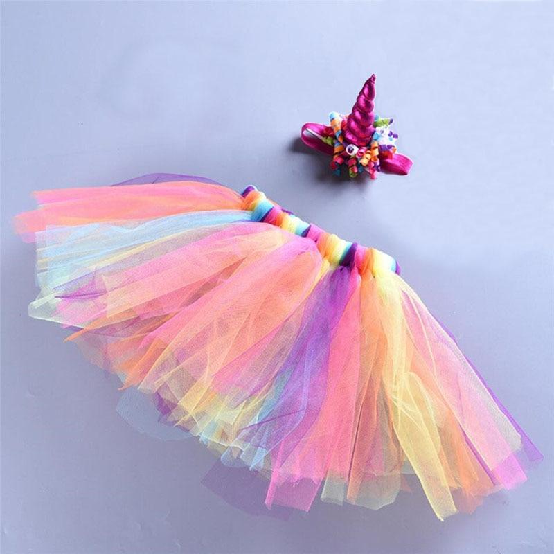 0-5Y Çocuk Kız Tutu Etek Prenses Gökkuşağı Çocuk Tül Etek Unicorn Kafa Bandı Mini Pettiskirt Bebek Kız Dans Elbise A343