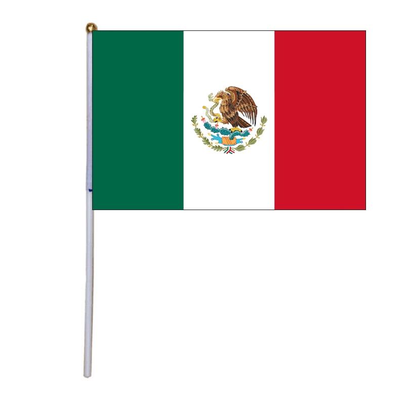 Бесплатная доставка, флаги xvggdg 14*21 см, мексиканские ручные волнистые флаги 100, с пластиковым стержнем, Мексиканский ручной флаг