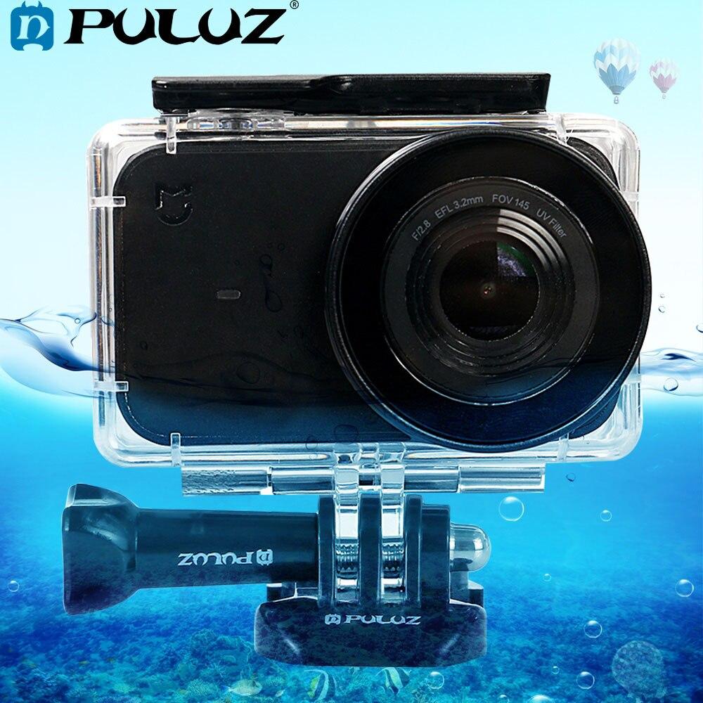 Carcasa de buceo impermeable de plexiglás acrílico subacuático PULUZ 45m para Xiaomi cámara pequeña Mijia y hebilla montaje básico y tornillo