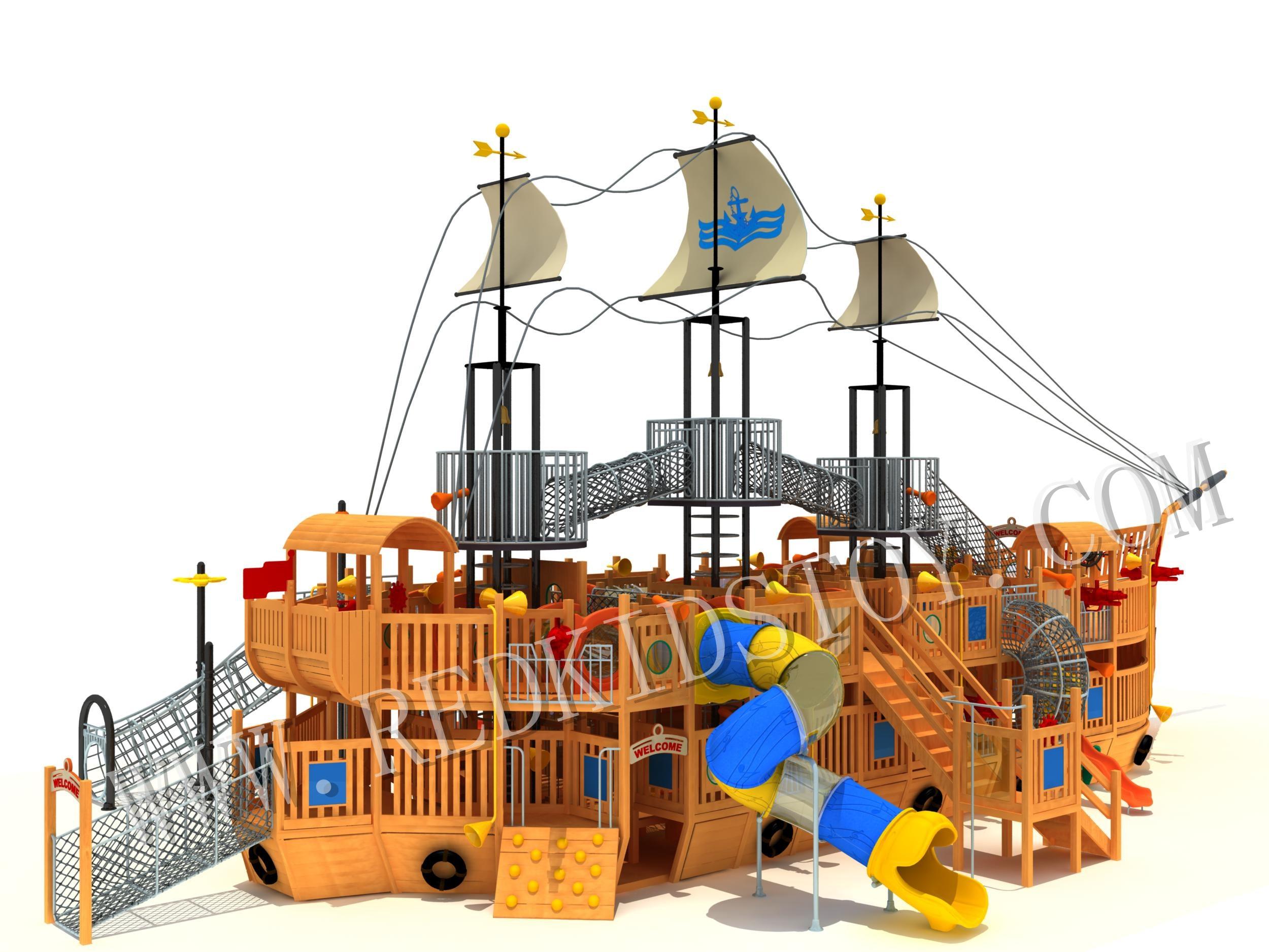 Seaside Wooden Playground Equipment  Super Quality Children Wood Pirate Ship YY501