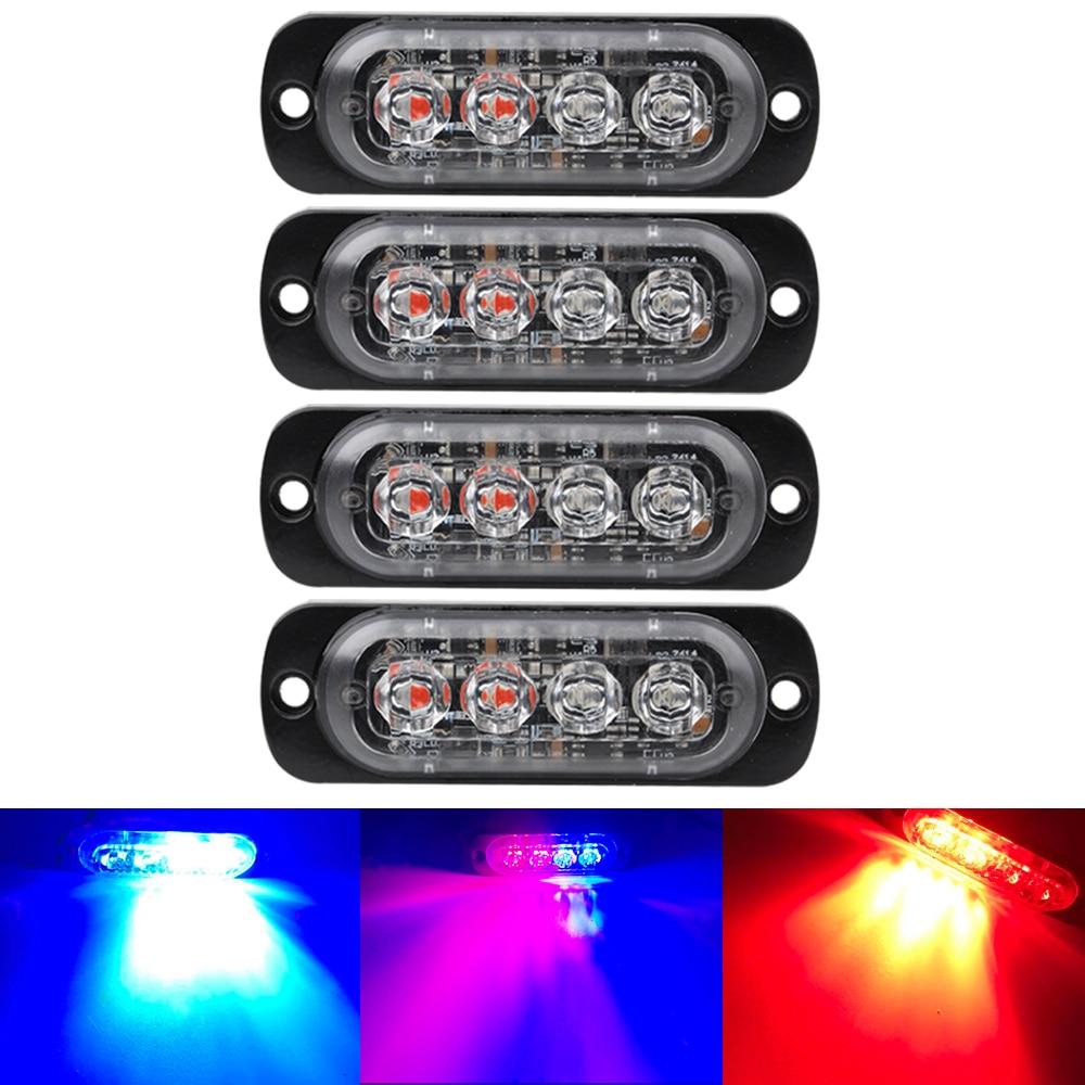 Luz estroboscópica ultradelgada 4LED 12-24V luz lateral roja azul blanco ámbar luz estroboscópica de advertencia para camión policía
