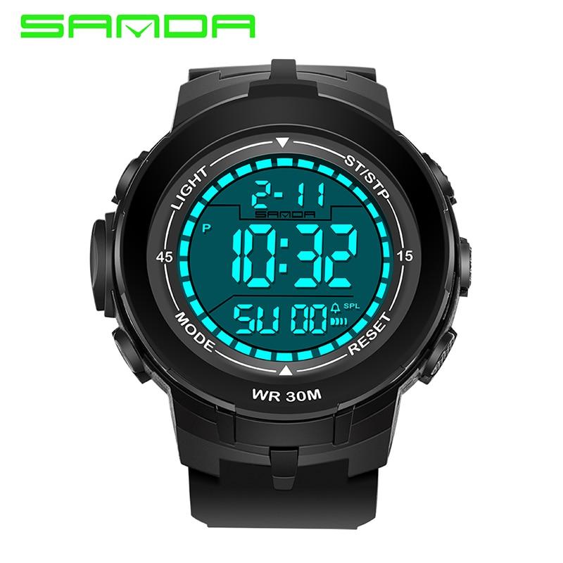 Reloj Digital SANDA a la moda para hombres, relojes deportivos militares, reloj Digital LED resistente al agua para nadar para hombres, reloj Masculino
