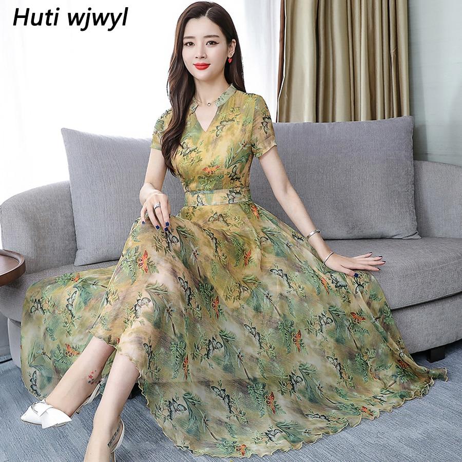 2019 Green Floral Chiffon Bodycon Beach Midi Dress Summer Vintage 3XL Plus Size Print Boho Sundress Eleggant Women Party Vestido