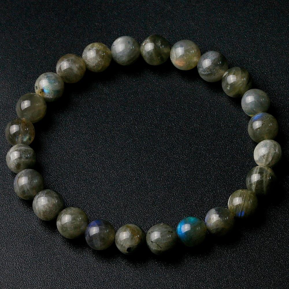 Grade A Natural India Labradorite Stone Round Beaded 8mm Lucky Gray Blue Stone Women Men Bracelet New Charm Jewelry Gift