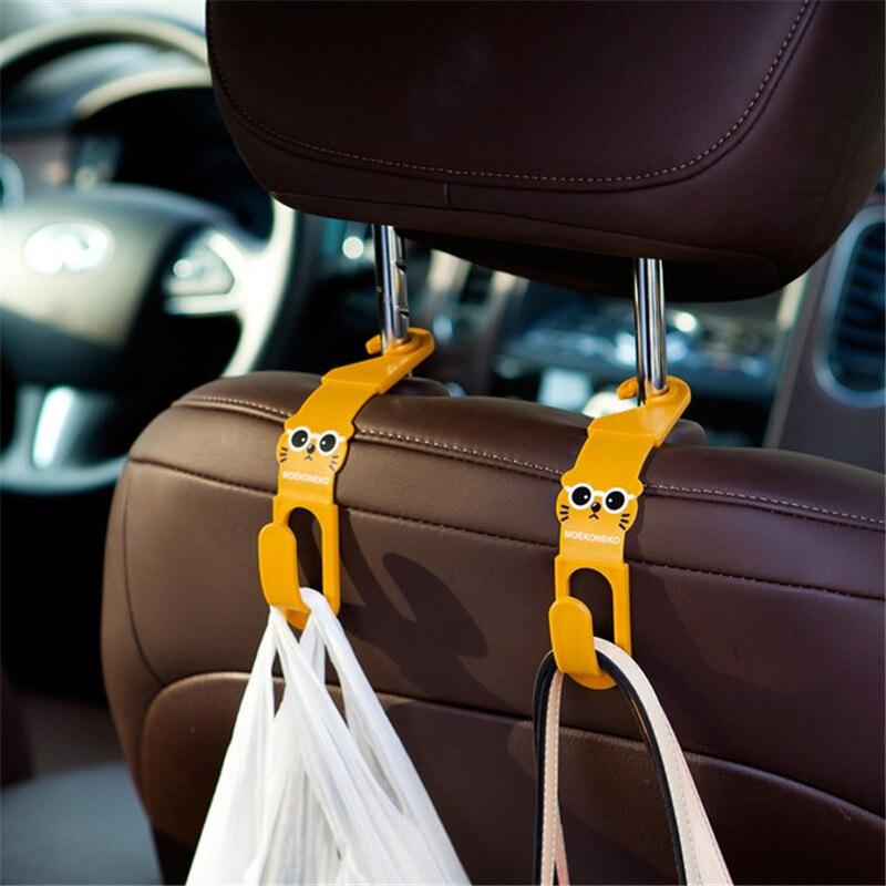 2 unids/lote lindo gato coche percha para asiento de almacenamiento gancho de suspensión coche accesorios de artículos varios organizador