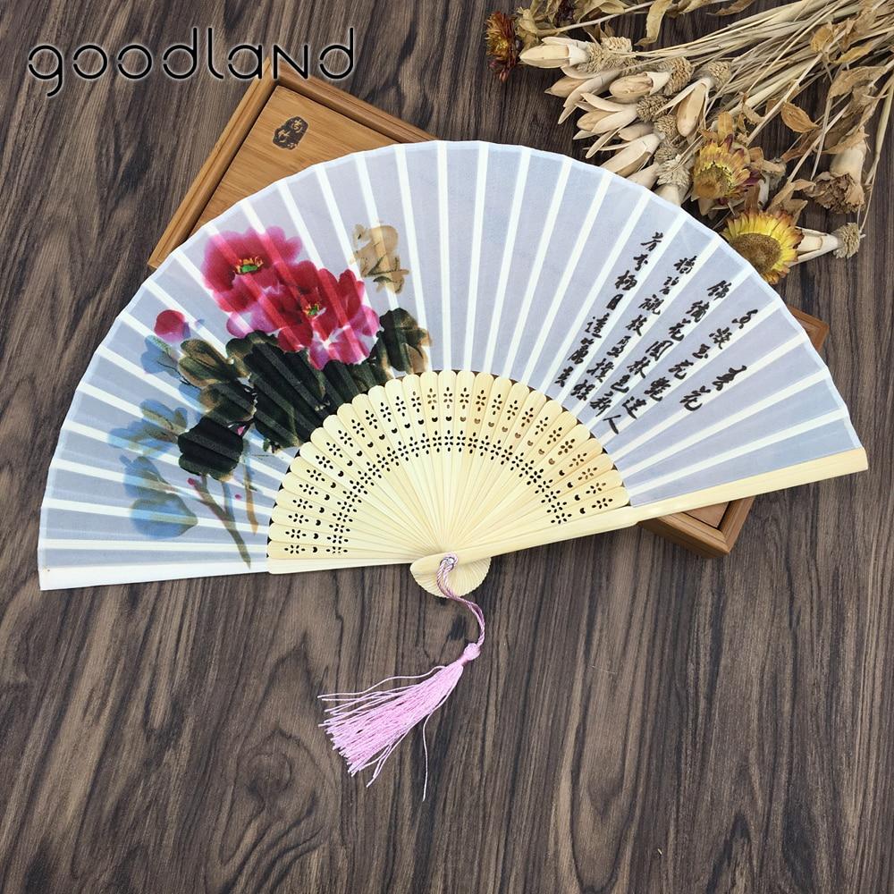 Free Shipping 30pcs Oriental Chinese 100% Silk Bamboo Flower Pattern Fold Hand Pocket Fan Wedding Birthday Party Favors