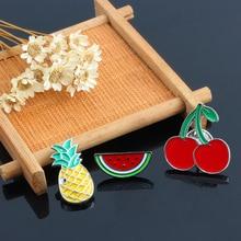 3 Pcs/set Fruit Series Cartoon Brooches For Women Watermelon Pineapple Cherry Mini Enamel Pin Brooch Badge Clothes Decoration