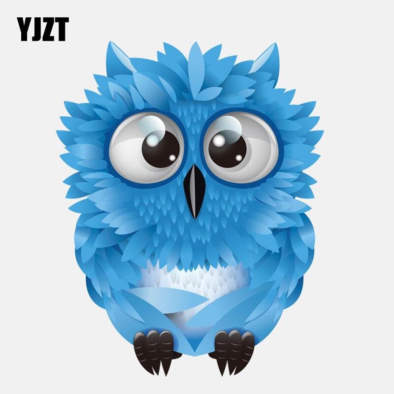 YJZT 12,9 CM * 16,1 CM azul lindo búho de ojos grandes PVC pegatina de coche de alta calidad 11-01299