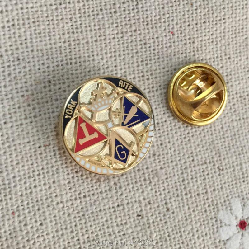 York Rito maçônico alfinetes de lapela Rodada crachá Broche de metal artesanato pintura Maçonaria souvenir Pin freemasonary Azul Lodge