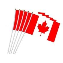 Drapeau du Canada 14x21cm 5 pièces   Petits drapeaux nationaux 14x21cm avec mât en plastique NC011