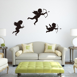 Cupid Wall Sticker Removable Glass Wall Sticker Angel Sofa Decal Children Art Home Decoration For Room Glass Wall Decals