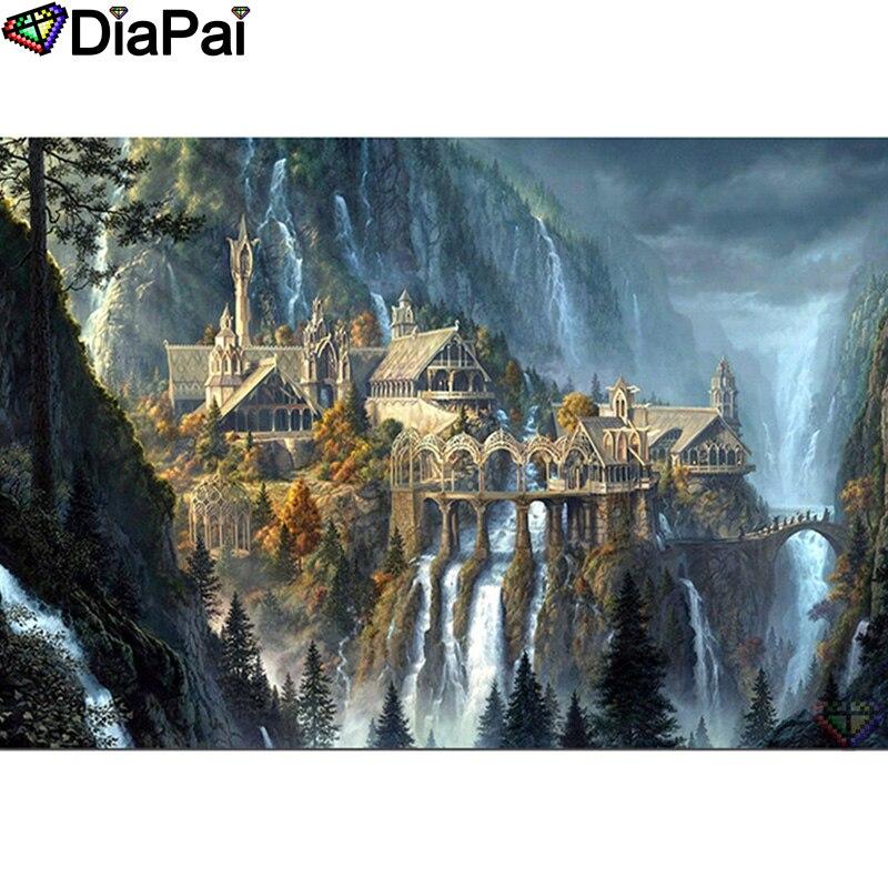 "DIAPAI 100% Full Square/Round Drill 5D DIY Diamond Painting ""Castle building"" Diamond Embroidery Cross Stitch 3D Decor A20879"