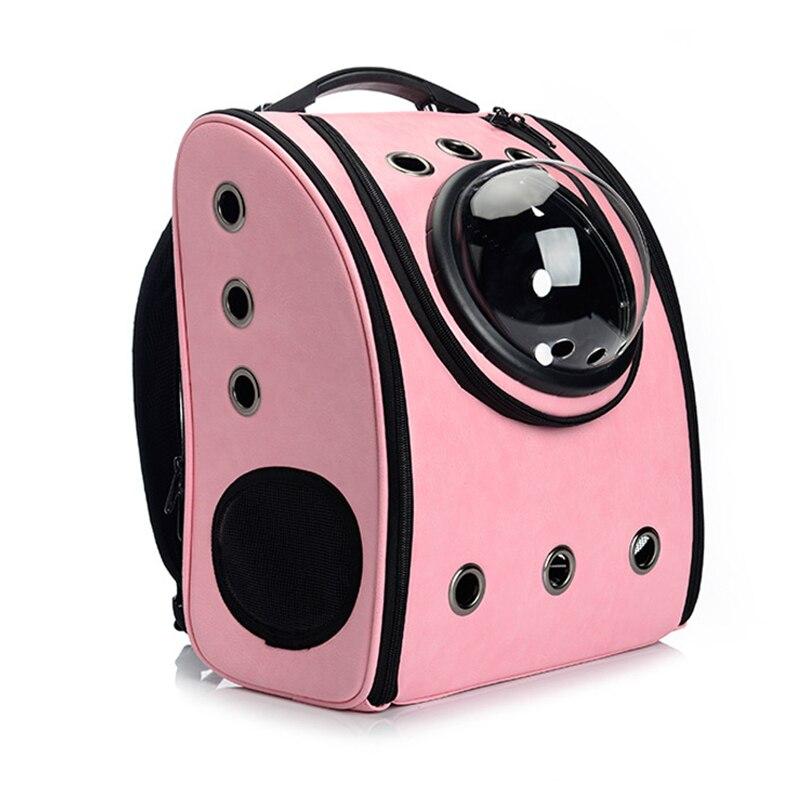 PU cuero mascotas gato mochila bolsa pequeño perro cachorro portador caja transpirable gatos mochila doble hombro portátil al aire libre jaula para mascotas