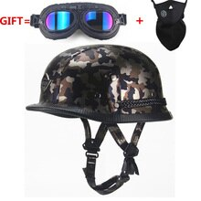 Leather Helmet  WWII Style BLACK German Motorcycle Open Face Half  Helmet Chopper Biker Pilot   camouflage