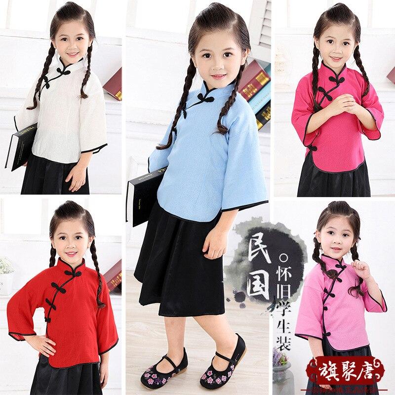 2019, vestido chino para niña, ropa de verano, vestidos tradicionales de manga tres cuartos de algodón para niños