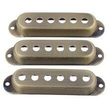 Yibuy 48/50/52 housses de ramassage à bobine unique en alliage daluminium Bronze pour remplacement de guitare électrique Pack de 3