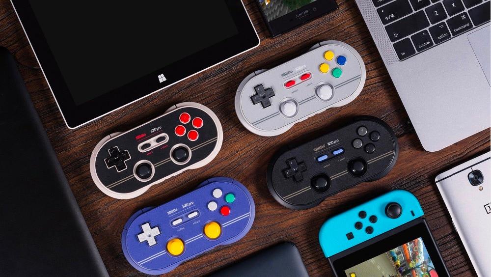 Controle 8bitdo n30 pro 2 bluetooth, gamepad bluetooth wireless para nintendo switch android, macos e joystick na steam 2020