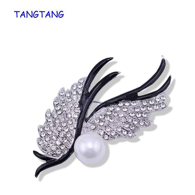Nuevo broche clásico con plumas ondeantes de gama alta con diamantes de imitación, Perla simulada hecha a mano, esmalte elegante para mujer, artículo de buen gusto BH8182
