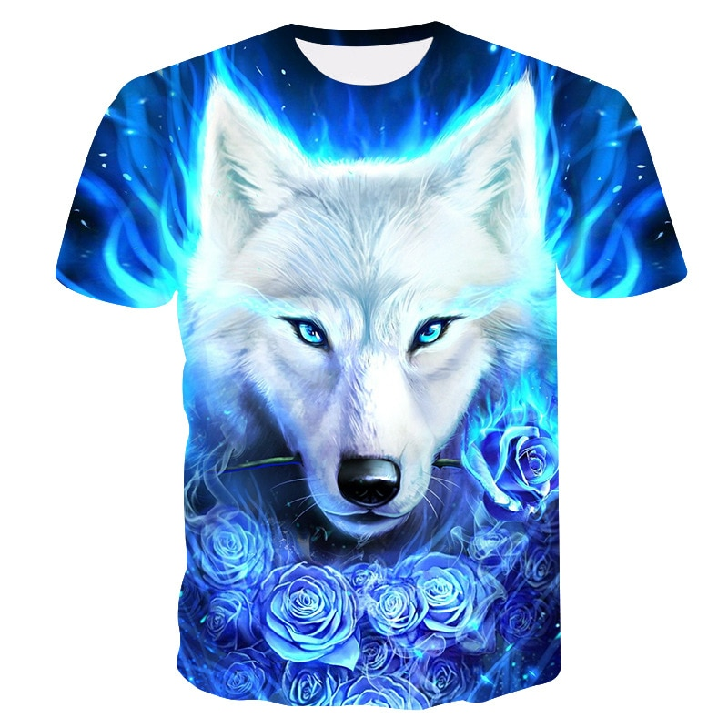 2020 été enfants 3D T-shirt Animal tête de loup bleu Rose foudre mode enfants T-shirt grand garçon fille mode vêtements T-shirt hauts