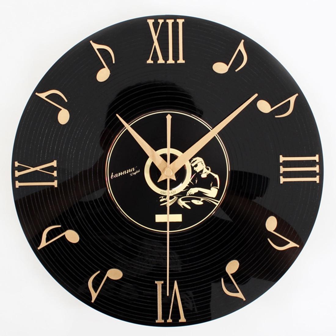 Retro Reloj de pared notas musicales vinilo álbum de CD colgante reloj negro sala de estar hogar dormitorio café Decoración