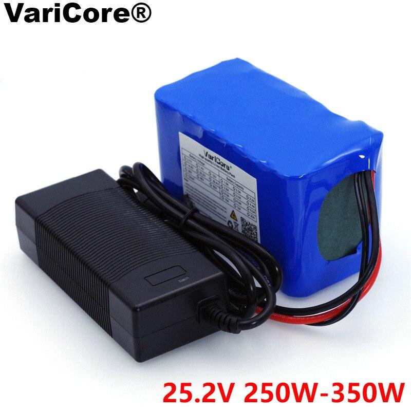 VariCore 24V 6s 4A 6A 8A 10A 18650 batería 25,2 V 12Ah batería de iones de litio para bicicleta 350W E bike 250W motor + cargador