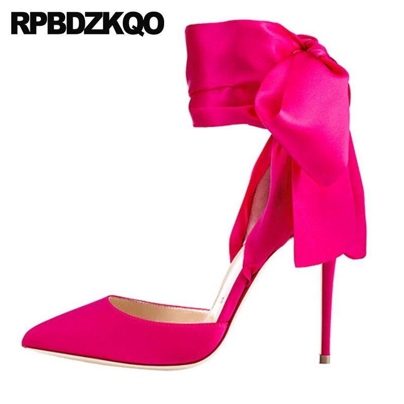 Pumps Crossdresser Peach Us Size 13 Ladies Shoes Ankle Strap High Heels Satin Scarpin Exotic Dancer 12cm 5 Inch Pointed Toe Plus