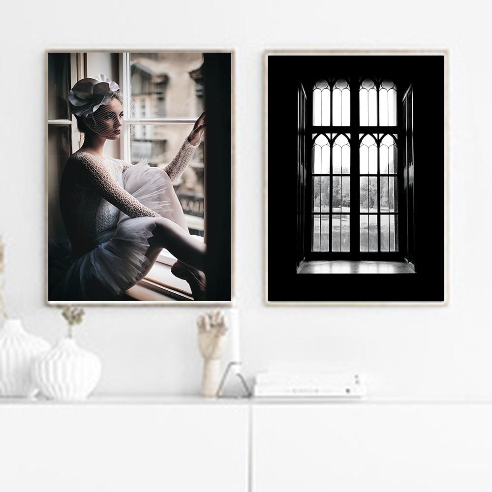 Cuadros-affiches et imprimés de figurines   Affiche sur toile, peinture murale nordique noir et blanc, images décoratives pour salon